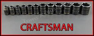 Craftsman Air Tools 12pc 1 2 Dr Laser Etched Sae Impact Socket Wrench Set