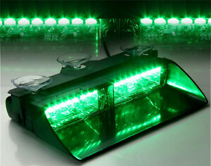 Car 16 Led Green Police Strobe Flash Light Dash Emergency Flashing Light