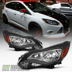 Black 2012 2013 2014 Ford Focus Headlights Headlamps Aftermarket Pair Left Right