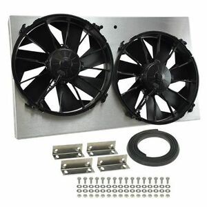 Derale 16825 High Output Dual 12 Electric Rad Fan aluminum Shroud Kit 4000 Cfm