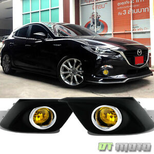 2014 2016 Mazda 3 Yellow Glass Lens Driving Bumper Fog Lights switch Left right