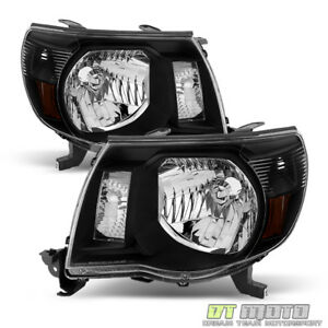 For 2005 2011 Toyota Tacoma Black Headlights Headlamps Light 05 11 Left right