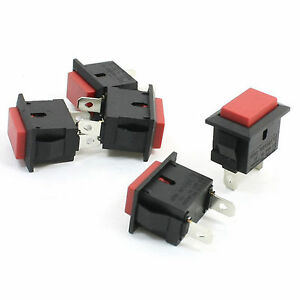 10pcs Red Cap Rectangle Momentary No 2 Pins Push Button Switch Spst