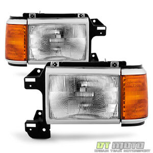 1987 1991 Ford Bronco F150 F250 Truck Headlights Chrome Trim Headlamps Pair Set