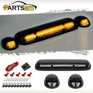 3pcs Smoke Cover Amber 30 Led Cab Roof Top Marker Lights For 02 07 Chevrolet gmc