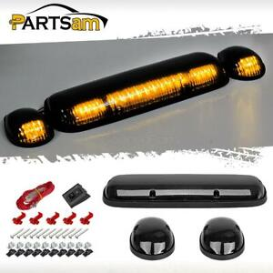3pcs Smoke Cover Amber 30 Led Cab Roof Top Marker Lights For Chevrolet Gmc 02 07