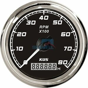 Kus Boat Tachometer With Hourmeter Marine Outboard Tacho Meter 12v 24v 8000 Rpm