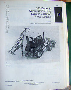 Case 580k Construction King Loader Backhoe Parts Catalog Oem Lot 452