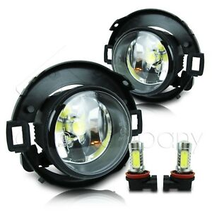 For 10 17 Frontier 05 14 Xterra Fog Lights W wiring Kit Cob Led Bulbs Clear