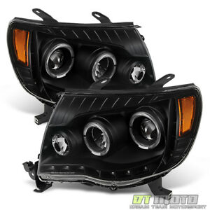 For Blk 2005 2011 Toyota Tacoma Trd Drl Led Halo Projector Headlights Headlamps