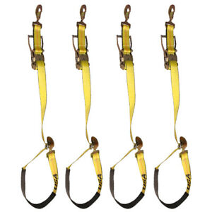 Four 4x Axle Strap With Ratchet Combo Kit Yellow Trailer Tie Down Hauler
