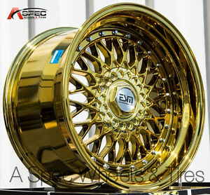 17x10 15 Esm 002 5x114 3 Gold Chrome Wheel Fits Mitsubishi Evolution Evo 8 9 X