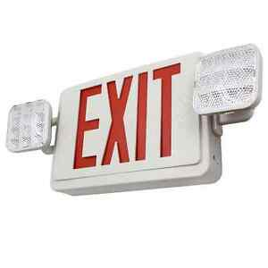 Ul listed Dual Face Led Emergency Exit Sign With 2 Head Lights Battery Backup