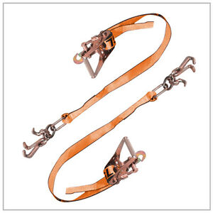 Two 2x Cluster Hook Ratchet Tie Downs Rugged Weave Car Tow O