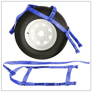 Two 2x Blue Demco Kar Kaddy Tow Dolly Straps Rugged Weave Axle W Loops
