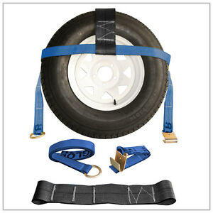 Two 2x Blue Adjustable Xl Tow Dolly Car Straps