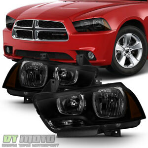 2011 2014 Dodge Charger R t Se Srt8 Black Smoke Halogen Headlights Headlamps Set