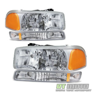 1999 2006 Gmc Sierra Yukon Headlights W Bumper Signal Lights Left Right 99 06