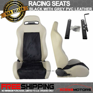 Universal Black Gray Pvc Leather Full Reclinable Racing Seats Fit For Hyundai
