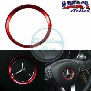 Steering Wheel Center Decoration Cover Trim Red For Mercedes C E Cla Gla 2015 Up