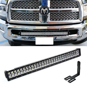 180w 30 Led Light Bar W Bumper Bracket Wirings For 03 18 Dodge Ram 2500 3500