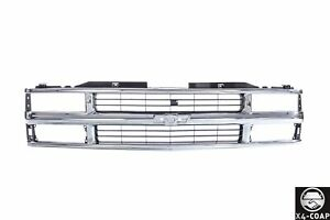 Chrome Grille W Black Insert For 94 98 Chevy C K Pickup Suburban Tahoe Gm1200238