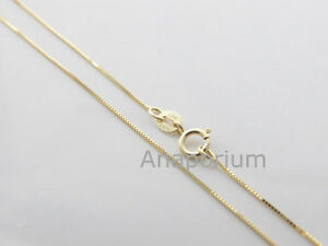 10k Solid Yellow Gold 0 7mm Box Chain Necklace Pendant 18 20 22 Inch Italy