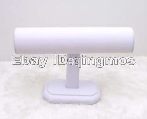White Faux Leathe T Bar Display For Bangle bracelet