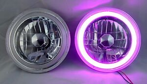 97 16 Jeep Wrangler Tj Jk 7 Purple Led Ccfl Halo Round Chrome Clear Headlights