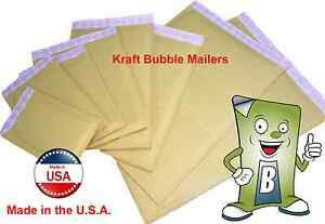 Kraft Bubble Mailers Sizes 000 00 0 1 2 3 4 6 7 Qty 10 25 50 100 250 500