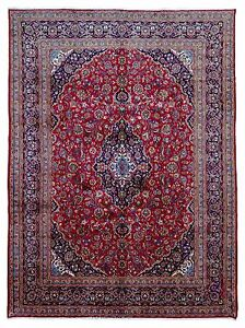 10 X13 Red And Blue Large Wool Persian Kashan Hand Knotted Oriental Area Rug