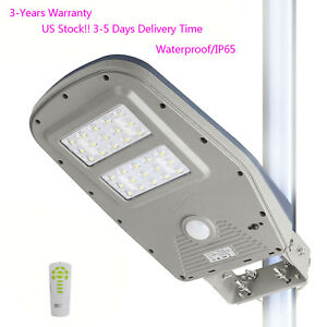 Commercial Solar Streetlight Outdoor Remote Pir Motion Sensor Night Lamp 1000lm
