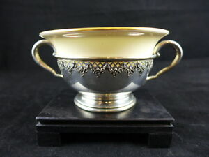Lenox China Bouillon Cup Or Bowl With Jennings Sterling Silver Holder 2 Handles