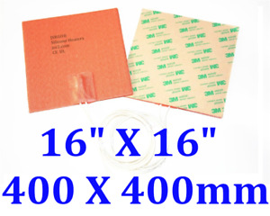 16 X 16 400 X 400mm 1200w 3d Printer Heated Bed Ce Ul Silicone Heat Pad