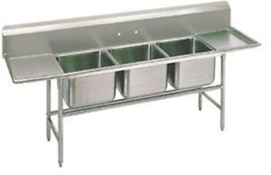 Advance Tabco Three Compartment Stainless Steel Commercial Sink With Two Drainbo