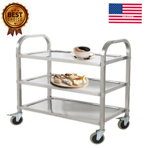Commercial 3 shelf Stainless Steel Kitchen Restaurant Utility Cart With Casters