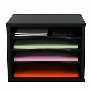 New Black Wood Organizer Desk Office Holder Storage Document 14 X 9 8 X 10 8