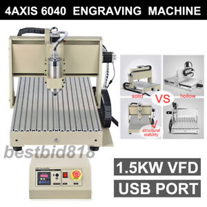 Usb 4 Axis 6040 1500w Vfd Cnc Router Engraver Engraving Milling Machine Desktop