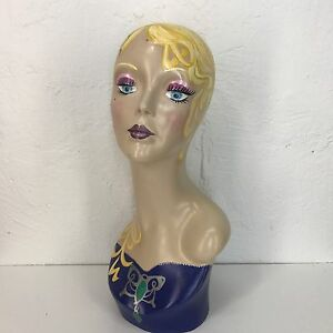 Vintage Style Art Deco Flapper 16 Mannequin Head Hat Stand