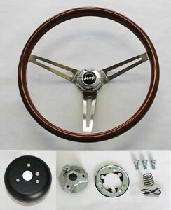 1976 1995 Jeep Cj Yj Wrangler Wood Steering Wheel High Gloss Grip Finish 15