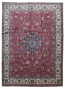 Large 9x12 Semi Antique Red Wool Handmade Persian Kashan Oriental Rug New
