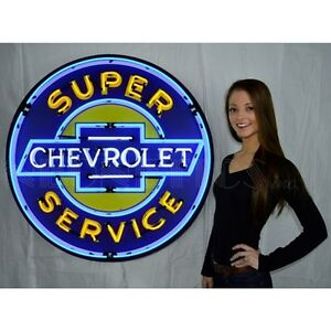 Gm Huge Super Chevrolet Service 36 Neon Sign In Metal Can 9chevyb