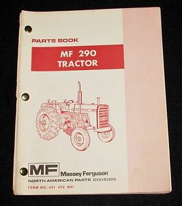 Massey Ferguson Mf 290 Tractor Parts Book