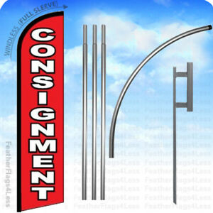 Consignment Windless Swooper Flag 15 Kit Feather Banner Sign Rf