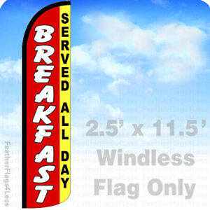 Breakfast Served All Day Windless Swooper Flag Feather Banner Sign 2 5 x11 5 Rz