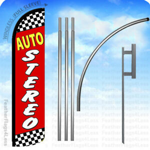 Auto Stereo Windless Swooper Flag 15 Kit Feather Banner Sign Rz