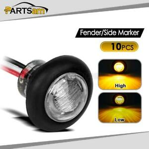 10x 3 4 Clear Amber Round Led Marker Clearance Light Truck Trailer Boats 3led