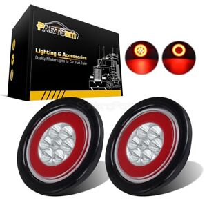 2x Clear Lens 19 Led Red 4 Round Truck Trailer Brake Stop Turn Tail Halo Lights