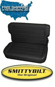Smittybilt Fold Tumble Rear Seat 97 06 Jeep Wrangler Tj Lj 41515 Black Denim
