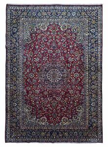 10 X14 Semi Antique Red And Blue Persian Isfahan Large Oriental Rug